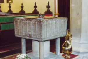 12th century Purbeck marble font